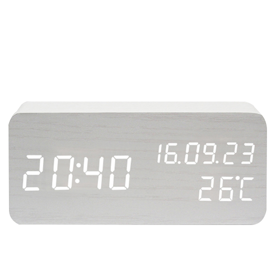 New design multi function led digital sound control clock with time temperature <strong>date</strong>