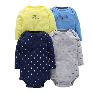 Wholesale High Quality Lovely Newborn Baby Clothes Girl 100% Cotton Long Sleeves Baby Rompers Summer