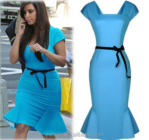 2016 Hot Selling Elegant Women Pencil Dress Lady Blue Fishtail Party Dress