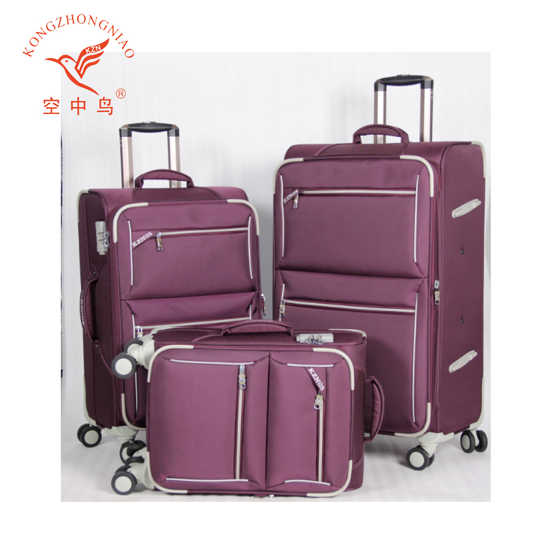cool china new designer nylon wheeled 3 piece set luggage suitcase