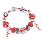Christmas gift Red Murano Lampwork Glass Beads fit European Charm Bracelet for Jewelry 14MM