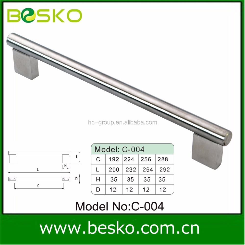 Long square feet solid stainless steel handle for glass door