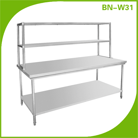 Commercial Stainless Steel Height Adjustable Working Table With Top Shelf BN-W31
