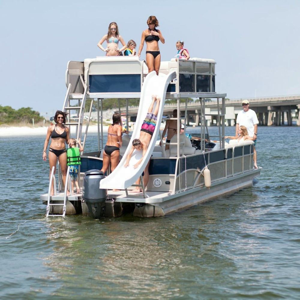 Luxury Double Decker Pontoon Boat For Sale With Bathroom Buy Welded Aluminum Boats For Sale Luxury Pontoon Boat Pontoon Boat For Sale With Bathroom