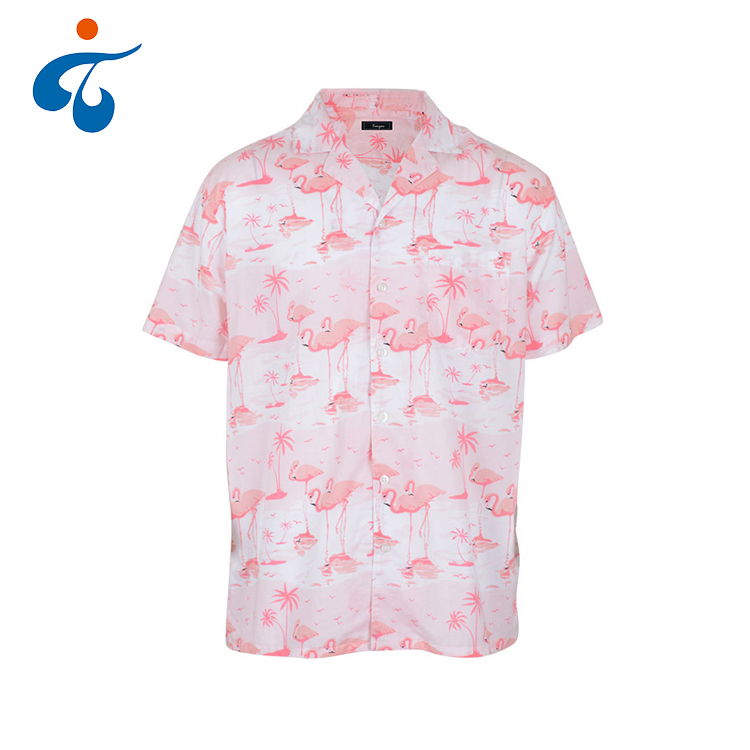 Top quality custom made morbido manica corta fancy rosa camicia hawaiana cotone