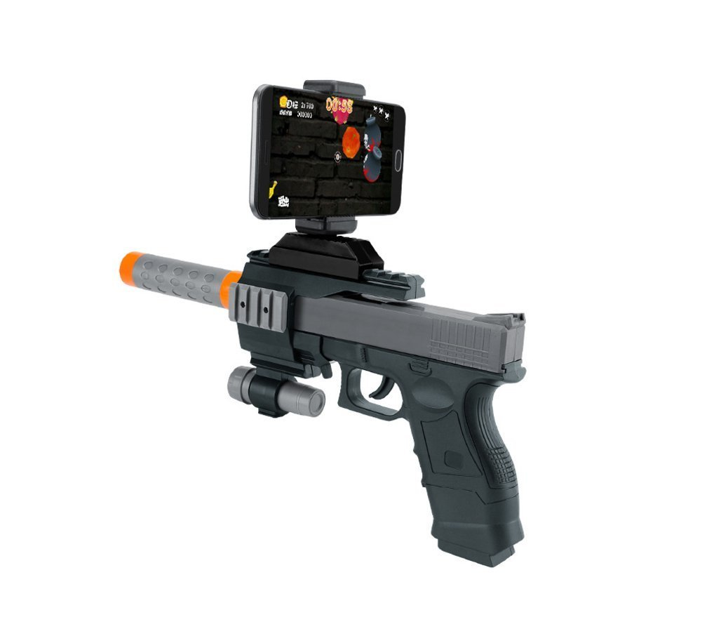 AR Game Gun, TEAMAR 360°Augmented Reality AR BT Game Controller with Cell Phone Stand, Portable Plastic AR Toy Game Gun with 3D AR Games for iPhone Android Smart Phone