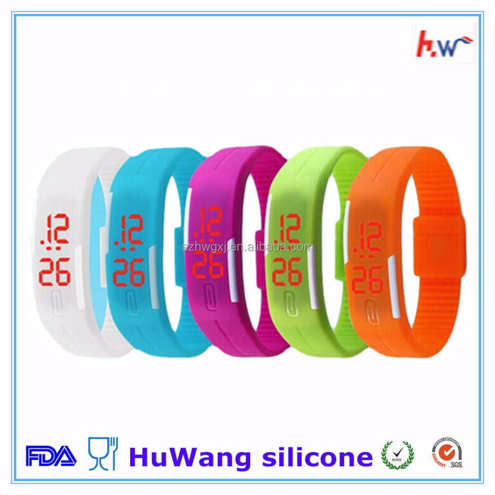 Colorful waterproof Children silicone led wristwatch
