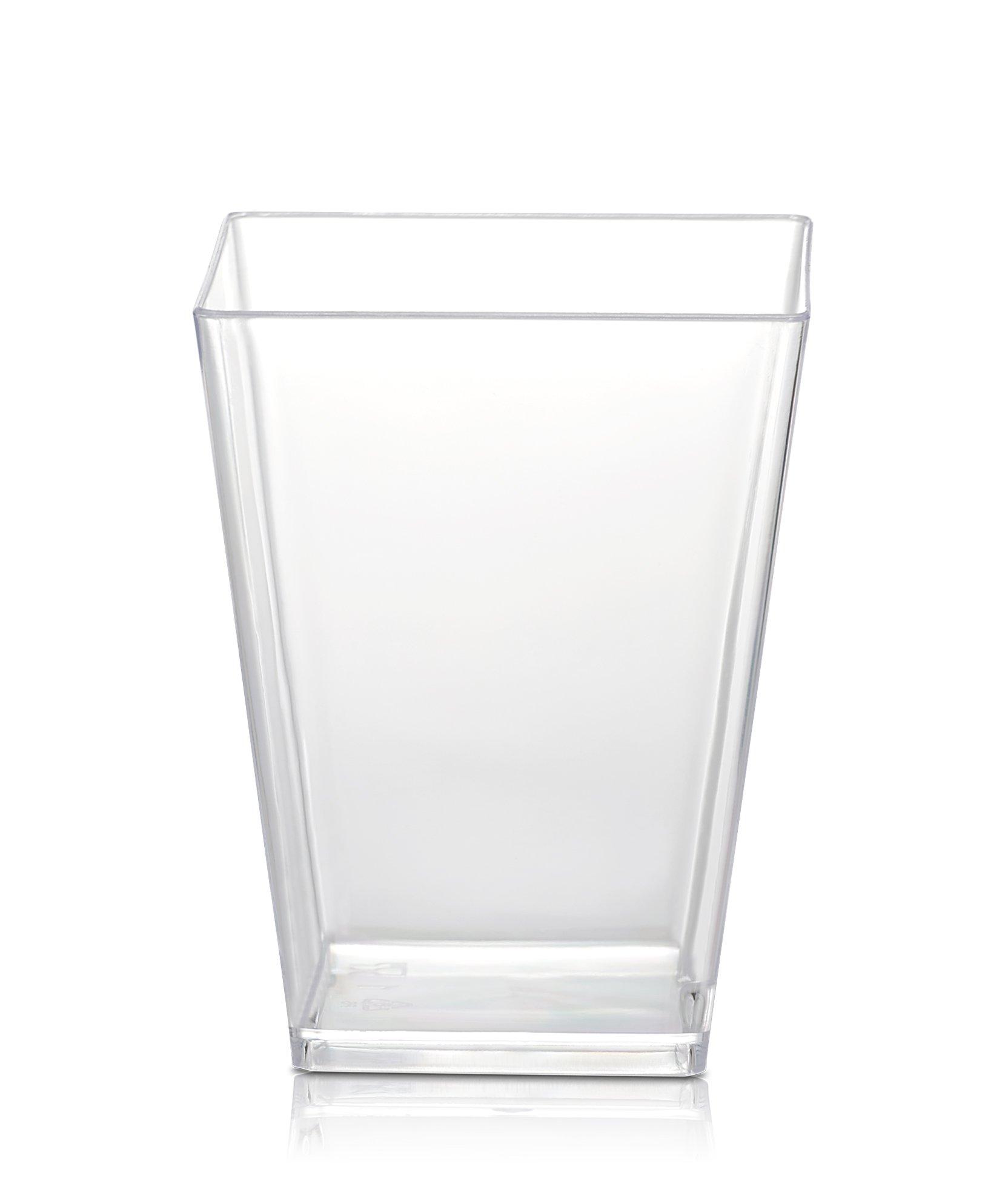 50 Plastic Party Cups for Dessert 5.4 oz - Serve Tiramisu, Parfait, Dip, Sundaes, Single Serve Desserts and More - Clear Plastic Tumbler Glasses - Mini Appetizer Dish or Square Bowl - by SticFigs