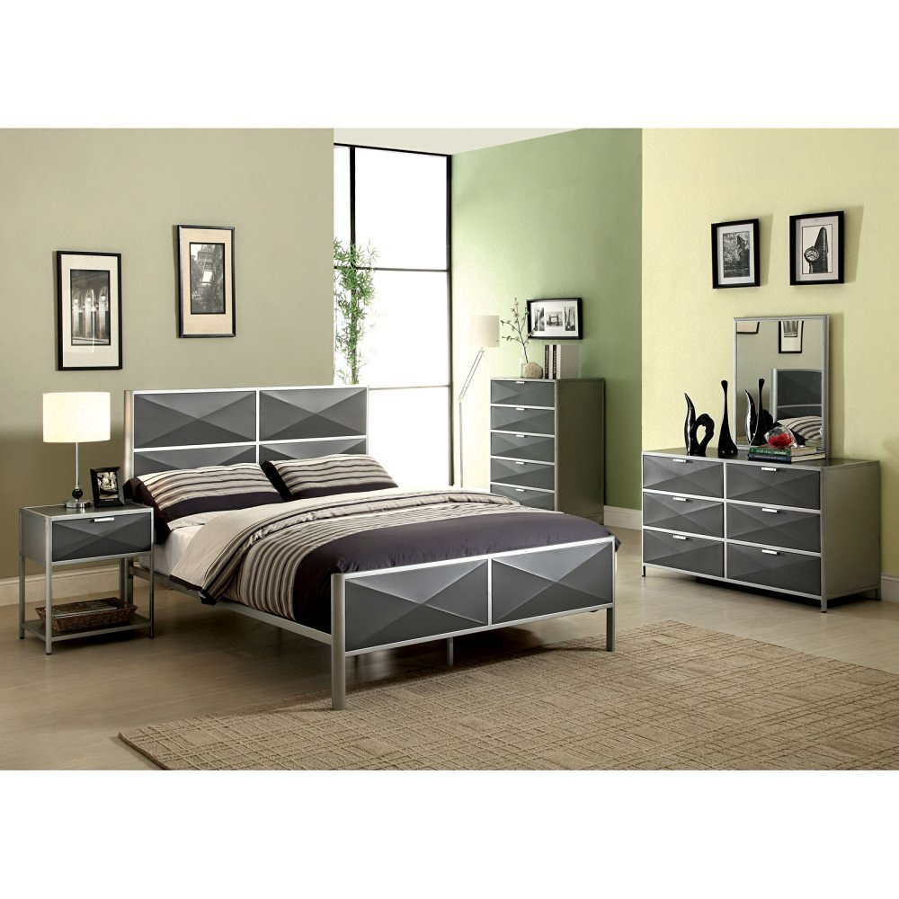 Furniture of America Bronx Metal Platform Bed - and Dark Gray