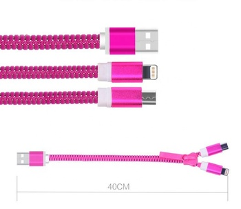 Wholesale Customized Creative 2 in 1 Zipper USB Cable For Smart Phone