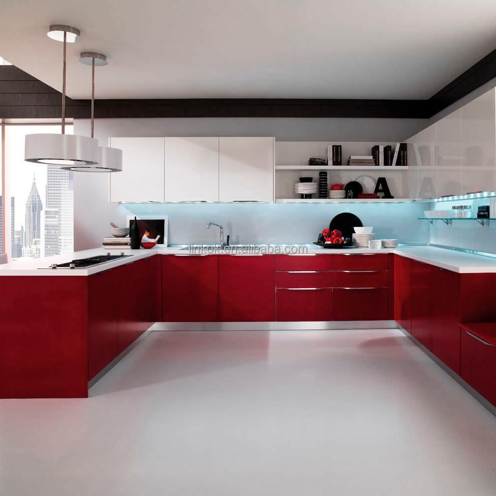 Uv Finish Aluminium Edging Door With Quartz Stone Kitchen Cabinet