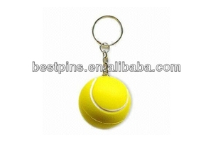 Promotional 3d tennis ball keychain/3d key chain in tennis ball shape