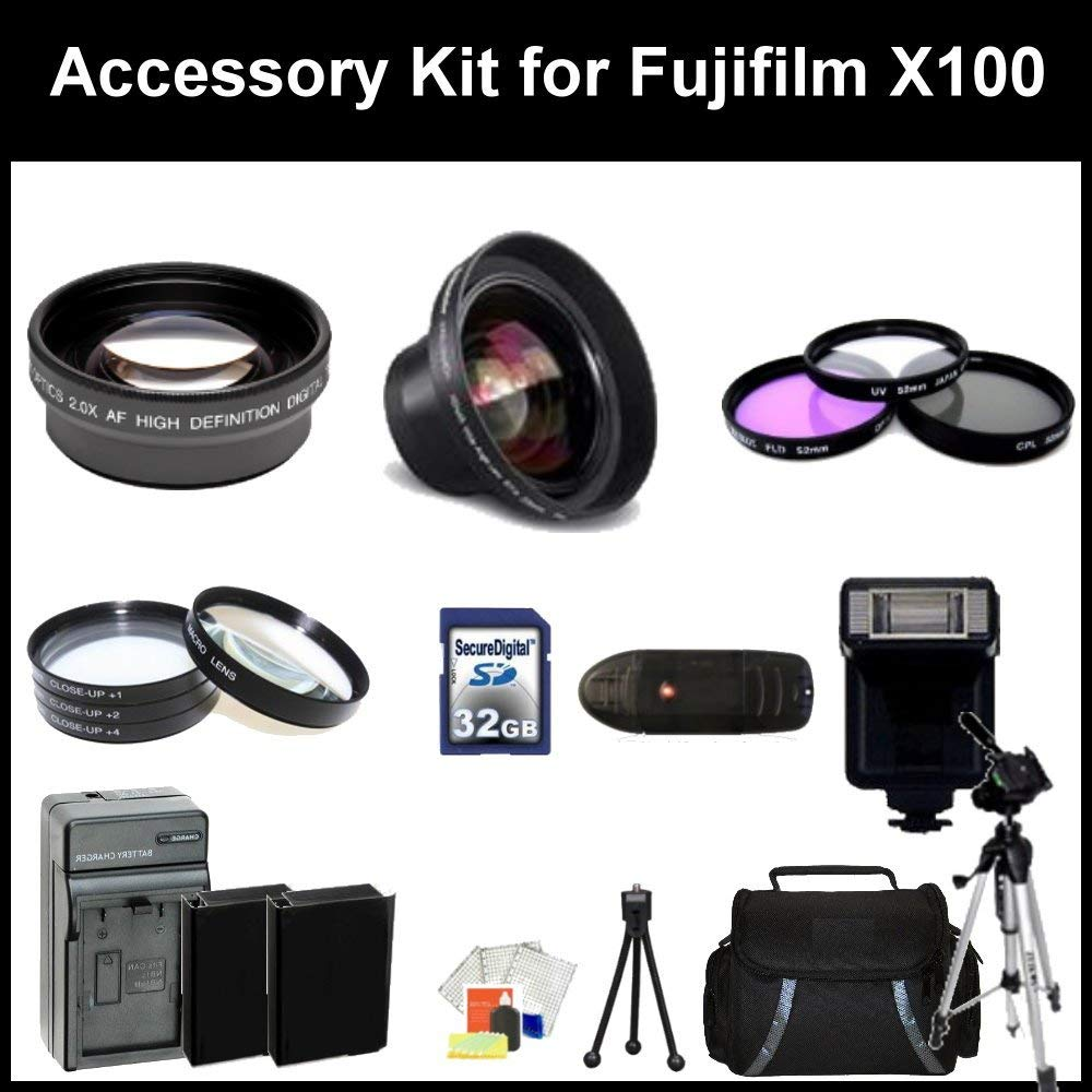 """Accessory Kit for Fujifilm X100 Digital Camera. - 16128244 - Package Includes: 0.45X Wide Angel Lens, 2X Telephoto Lens, 3 Piece Filter Kit(UV-CPl-FLD), 4 Piece Macro Filter Set (+1,+2,+4,+10), 32GB Memory Card, Memory card Reader, 67"""" Tripod & More!"""