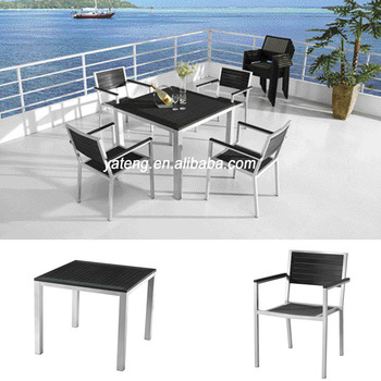 Foshan Garden Supplier Brushed Aluminum Outdoor Furniture For Set Of Wpc Wooden Table And Chair
