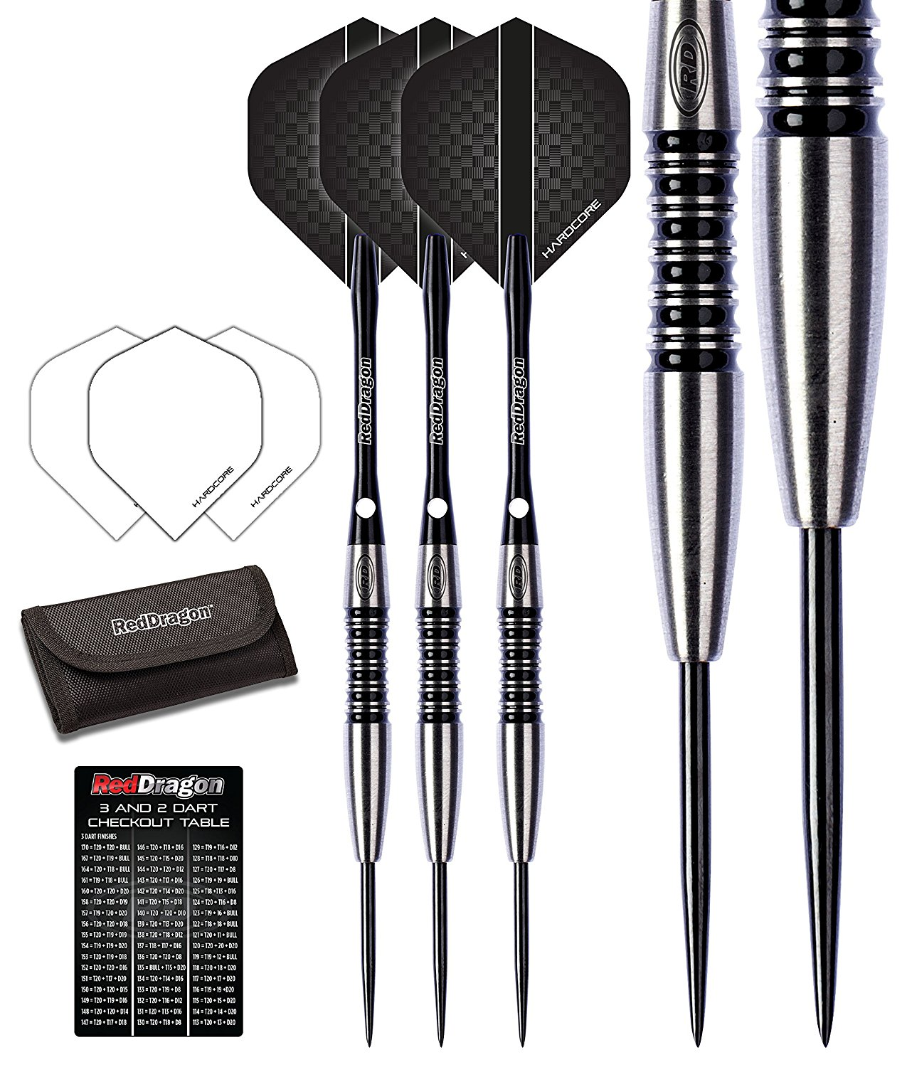 Red Dragon Fusion 1: 24g - 90% Tungsten Steel Darts with Flights, Shafts, Wallet & Red Dragon Checkout Card