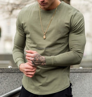 Custom elongated long sleeve t shits high quality fabric t shirt in bulk in Khaki