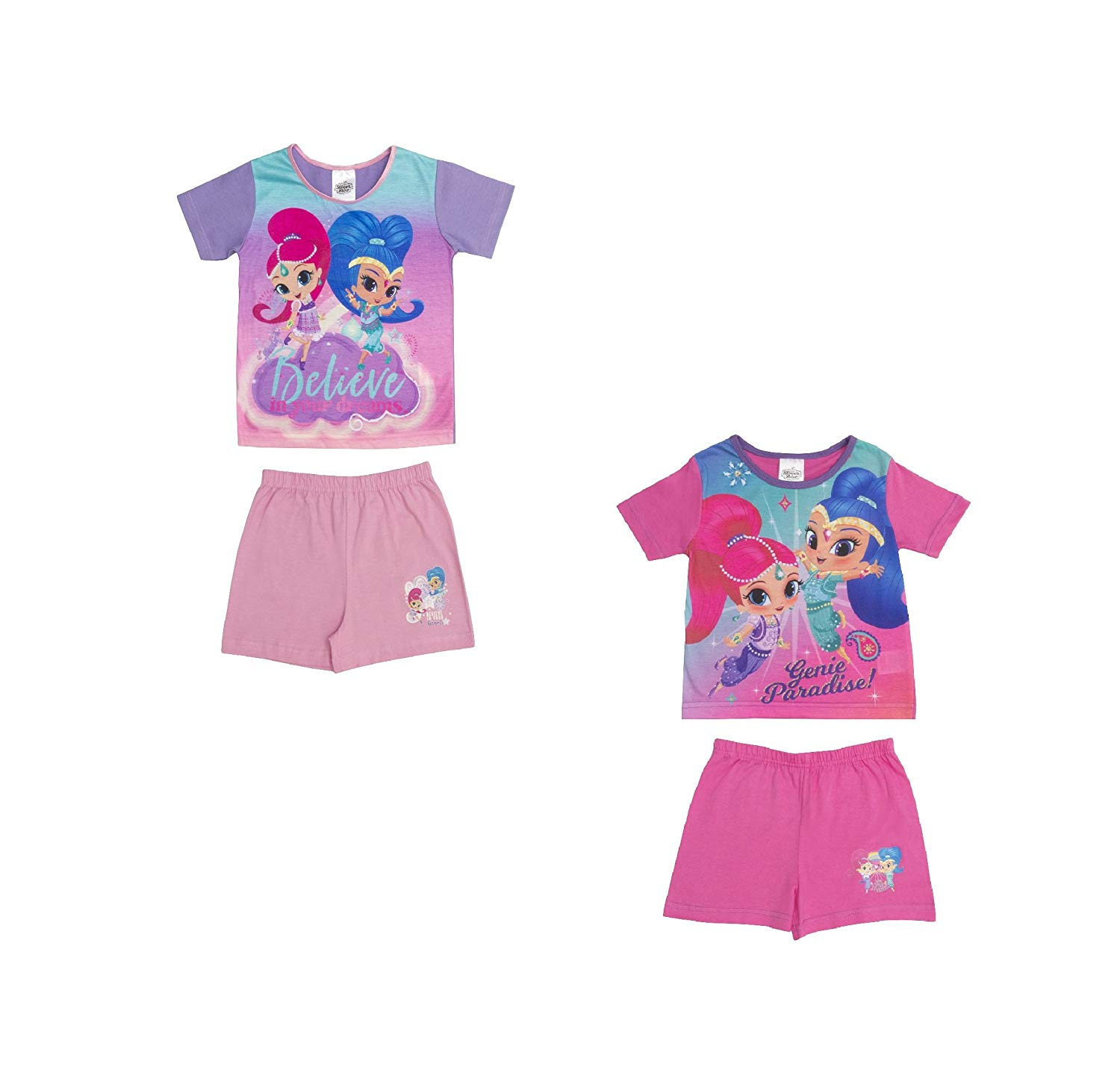 372a682b80283 Get Quotations · Cartoon Character Products 2 Pack Nickleodeon Shimmer &  Shine Girls Pyjamas Shortie Set, 18 Months
