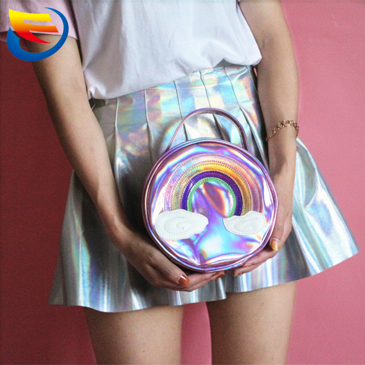 Manufacturer to build cool laser wash gargle bag soft sister rainbow receive bag cute hand-held circular girl's makeup bag