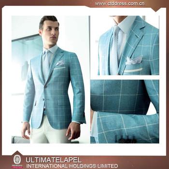 e01e1c442dfe Luce blu controllare abbigliamento formale fatta su misura degli uomini 3-  pezzo vestito di affari