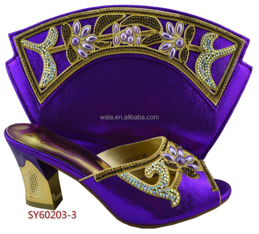 wholesale SY60203-3 Italian matching square heel Purple shoes and bag set for party