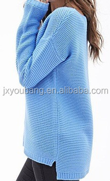 Hot Sale U Neck Short Front Back Long Loose Women Acrylic Sweater ...