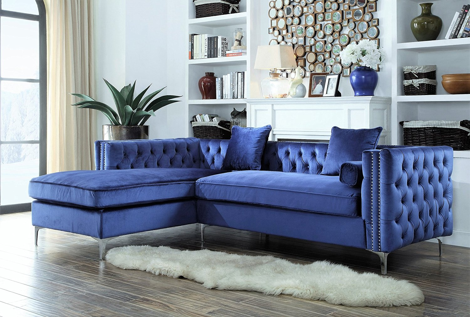 2afe7d062eef Iconic Home Da Vinci Tufted Silver Trim Navy Blue Velvet Left Facing  Sectional Sofa with Silver