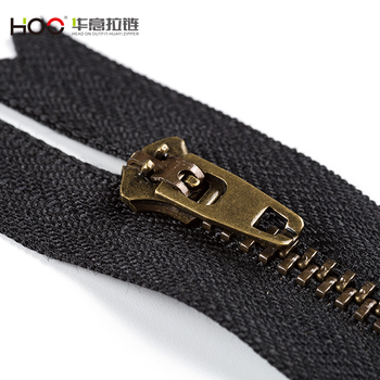HOO 2018 hot custom zipper jeans men gold metal zipper brass zipper price advantage for clothes,shoes,bag,jacket