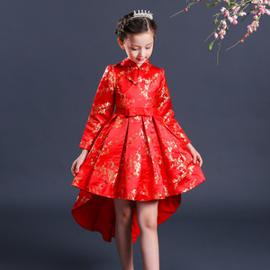 New Arrival Baby Boutique Clothing Kids Plum Blossom Embroidered Cheongsam Girls Short Cocktail Dress