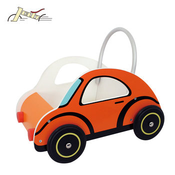 Cartoon Car Type Doll Pram with 4 EVA Wheels Wooden Baby Walker for Kids