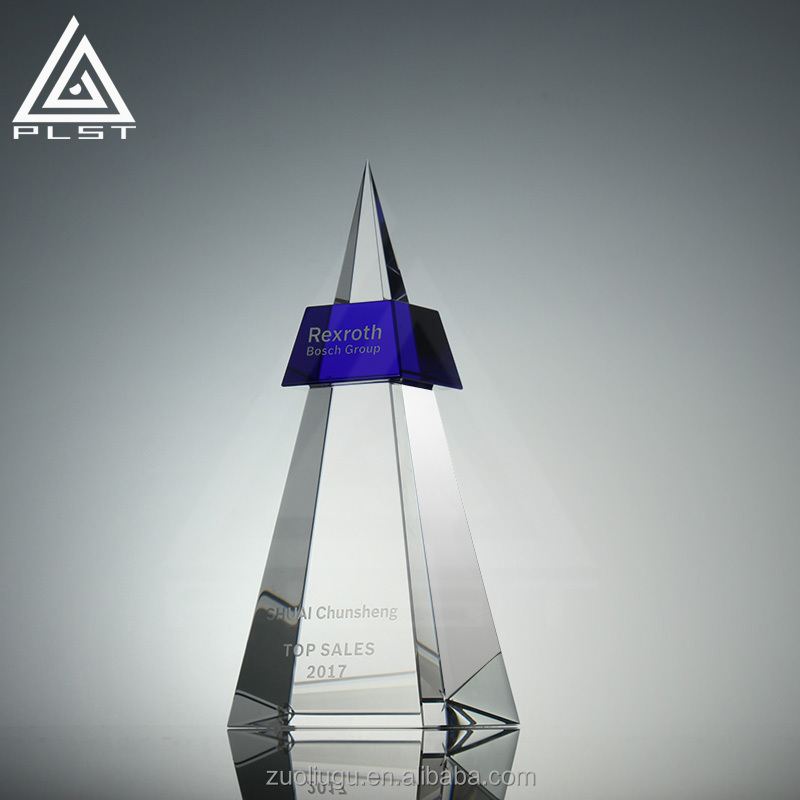 Customized design for engraving crystal awards and trophies pyramid crystal award business gift