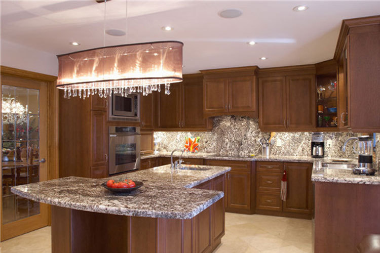 Customized light color wood veneer flat pack kitchen and for Ready made kitchen units