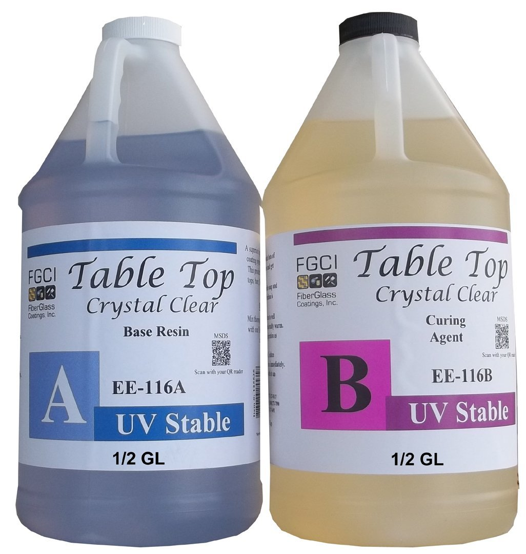Epoxy Crystal Clear Table Top Resin, 1:1, 1 Gallon Kit, Parts A & B Included