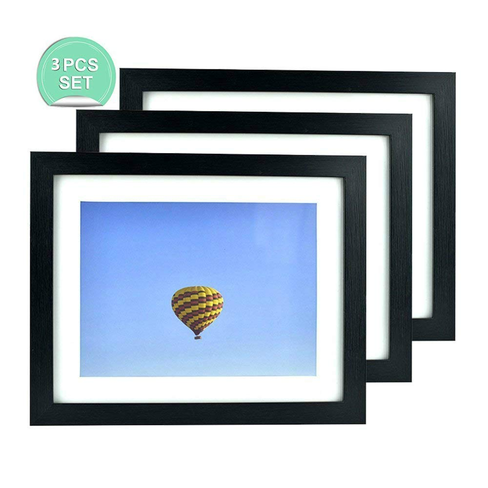 ShuangChuang 3-Pack 8x10 Picture Frames - Made to Display Pictures 6x8 with Mat or 8x10 Without Mat - Wide Moldings - Camera Photography Frame - Both Desktop and Wall Mountable (3 Pack)