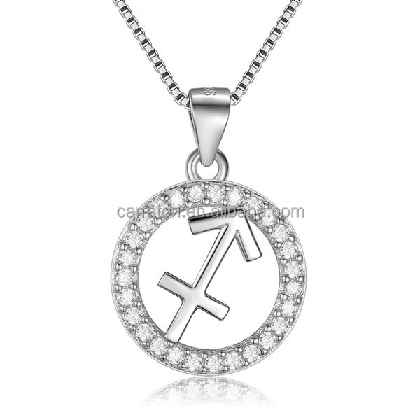 fashionable high quality solid silver diamond zircon Chinese Sagittarius Necklace
