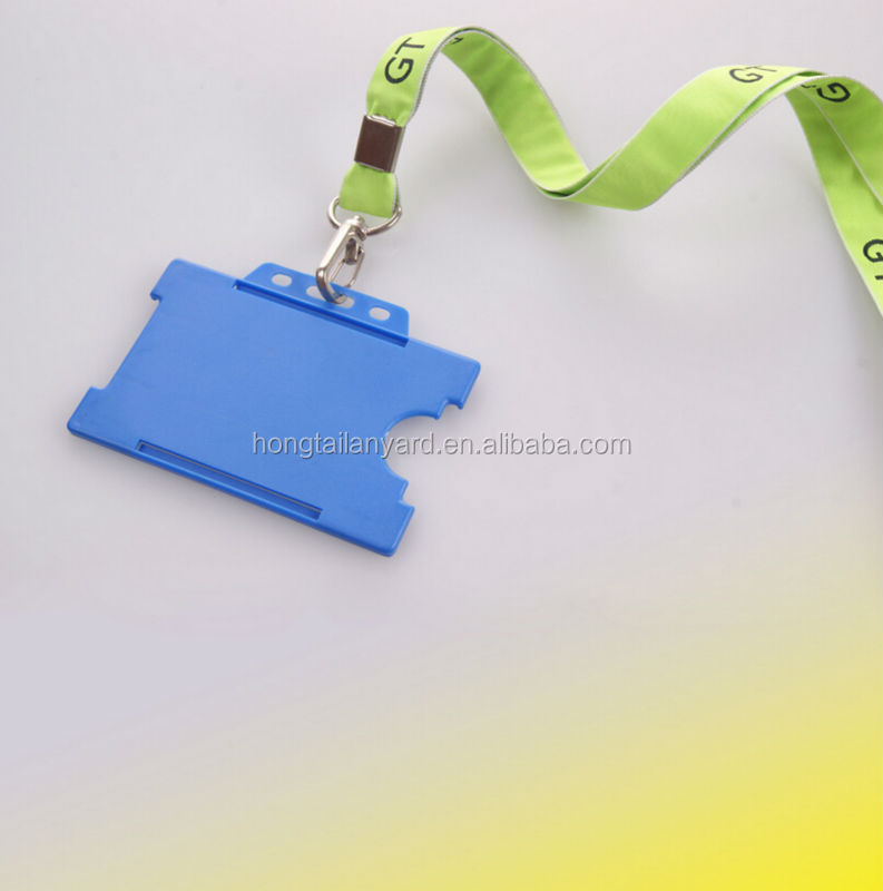 Royal blue color plastic card holder woven lanyards/double woven lanyards with card holder