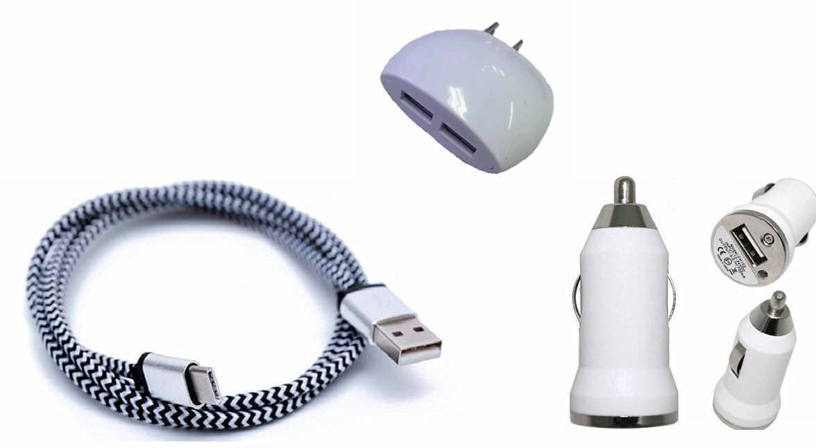 ZTE ZMAX PRO White Charging Combo Pack includes 3 Ft. Reversible Type C Cable , Dual USB Wall Home Charger and Car Charger