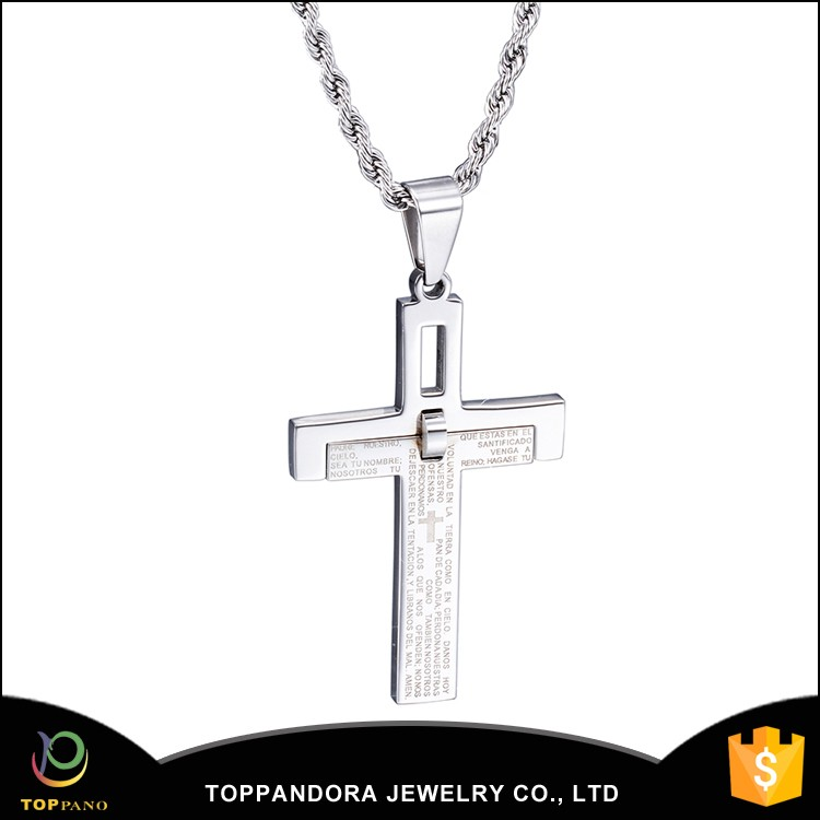 Shiny finish stainless steel custom engraved with cross and Jusus