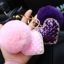 Real rabbit fur ball pompoms Crystal Heart shape Car Key Chain PU Leather Bag Hanging Charm Ornament