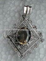 Sterling Silver Filigree Pendant, 925 Silver Gemstone Pendant, Large Filigree Pendant,