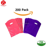 200 9x12 Glossy Pink and Purple Plastic Merchandise Bags , Die Cut Handle Bag