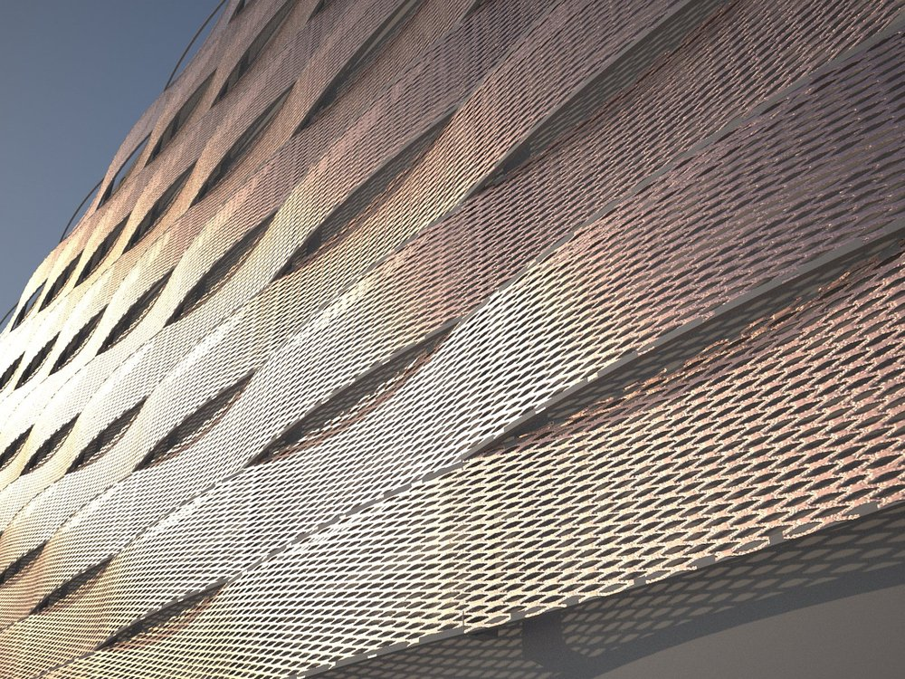 Decorative Architectural Expanded Metal Curtain Wall Cladding ...