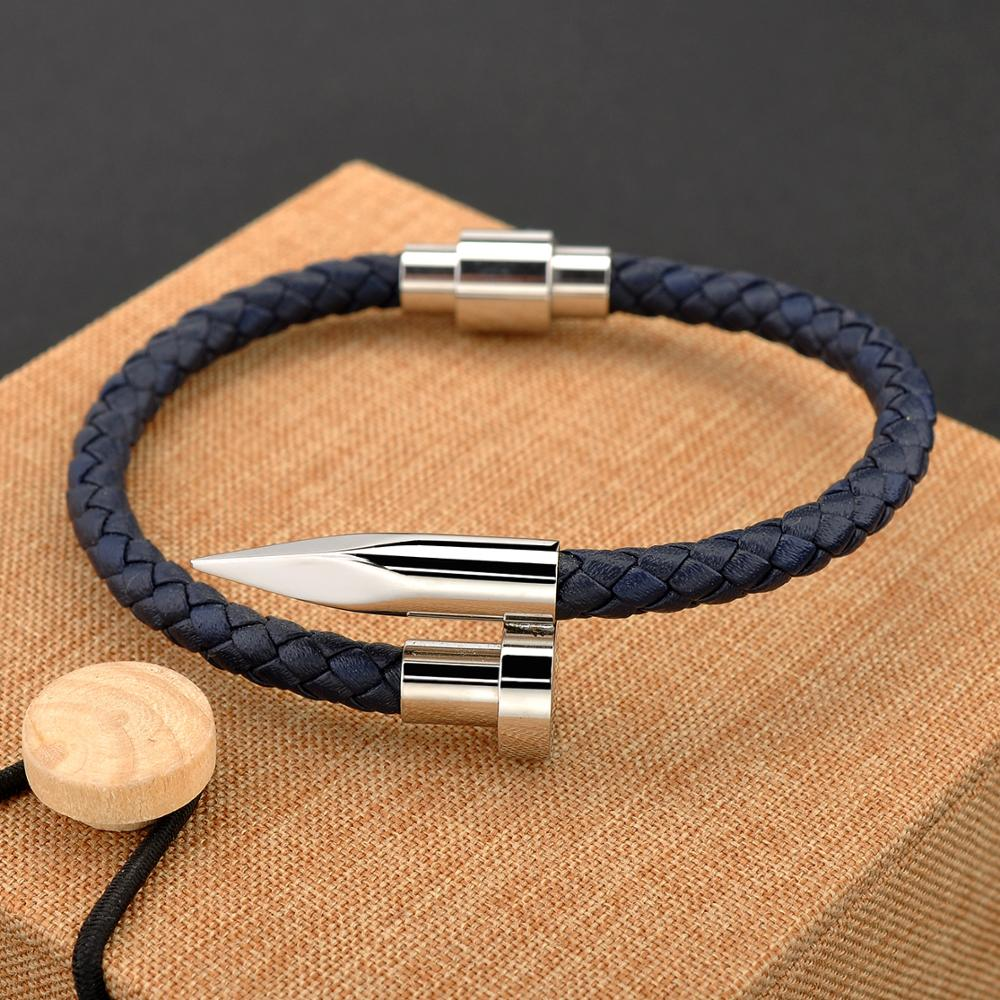 New Arrival Design Separate Clasp Stainless Steel Nail Braided Leather Mens Bracelet Models