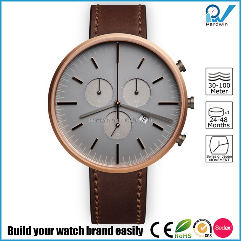 PVD Gold case genuine leather strap 5ATM water resistance harden mineral glass custom brand watch style