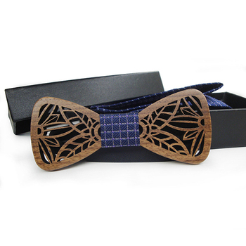 classic high quality hallow openwork engraved british style wedding eco wooden bow tie