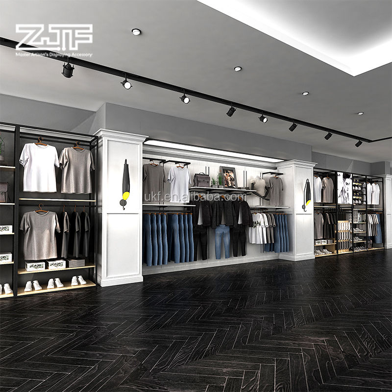 Wood material baby clothes store interior decoration design clothing showroom furniture