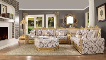 Luxury Middle East Arabian Style Golden Color Living Room Fabric Sofa Royal Family