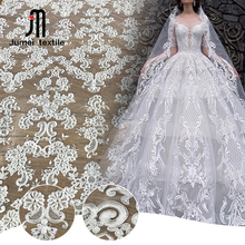 High quality soft tulle white color mesh embroidery bridal gown fabric wedding lace