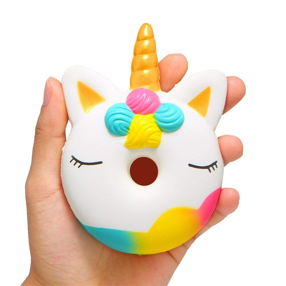 Aisikasi Novelty Squishies Toy Cute Unicorn Donut Squishies Slow Rising Soft Squishies Charms Fun Toys for Stress Relief and Time Killing