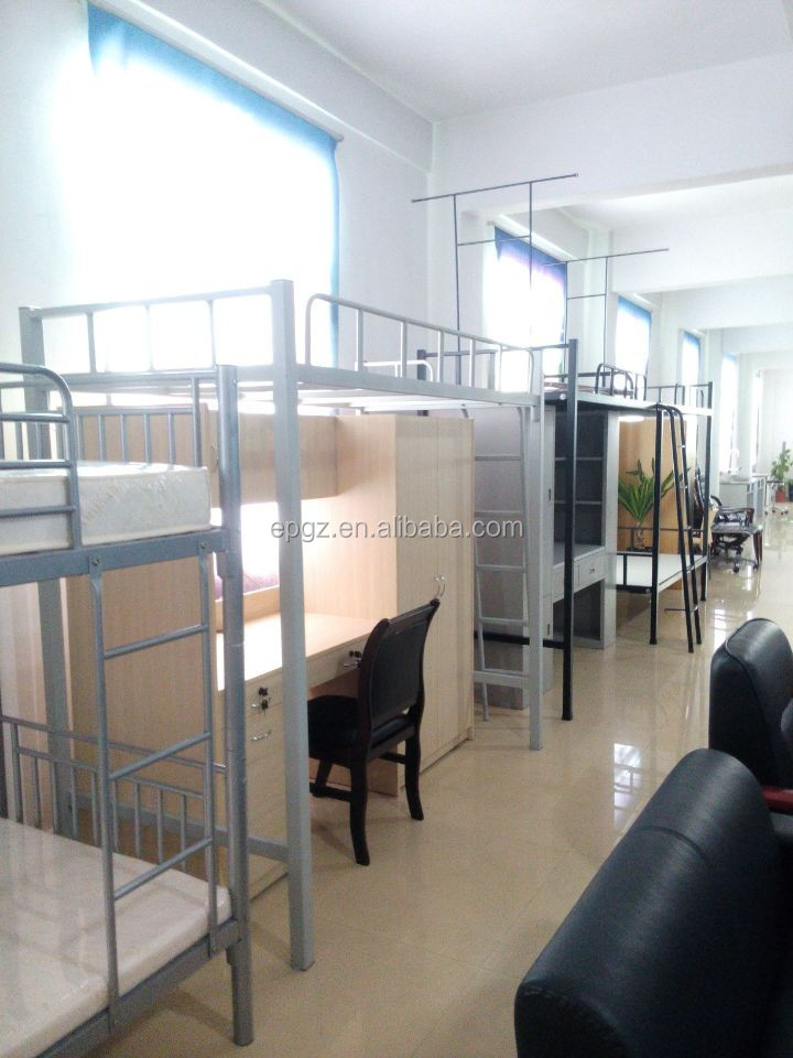 Hot Selling College Dorm Stainless Steel Pipe Loft Double Bunk Beds