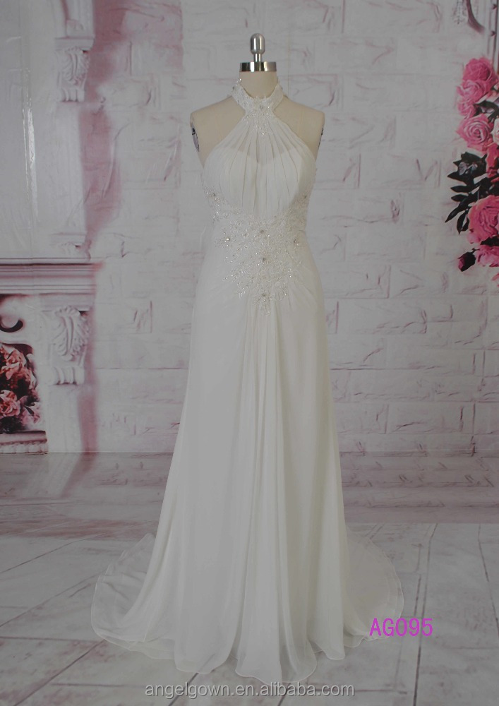 aliexpress hot sell high neck backless julie vino chiffon backless wedding dresses